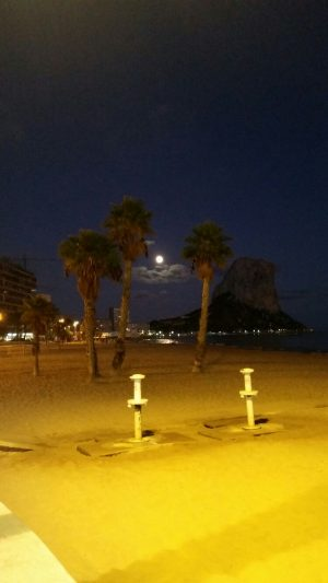 Calpe by moonlight, romantic holiday south Spain